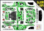 Green Stickerbomb themed vinyl SKIN Kit To Fit Traxxas Slash 4x4 Short Course Truck